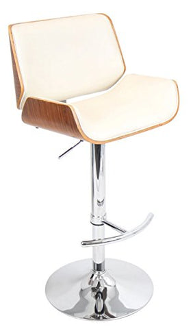 Fabulous Mid Century Modern Retro Style Swivel Wooden Adjustable Barstool Counter Height With Curved Back Metal Pedestal Base Walnut With Cream Seat Forskolin Free Trial Chair Design Images Forskolin Free Trialorg