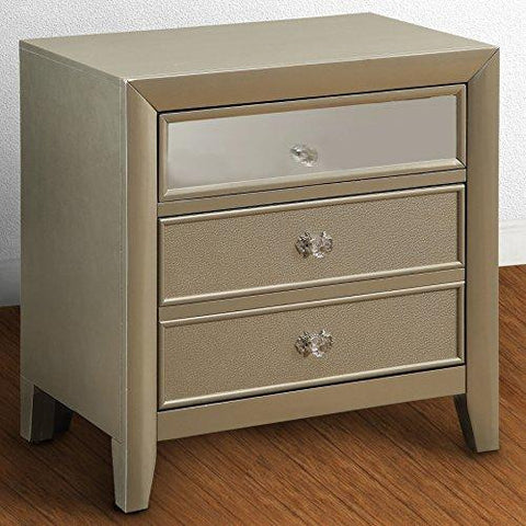 Contemporary Silver Wood 2 Drawer Nightstand End Table with Mirror Panel Lining on Top Drawer