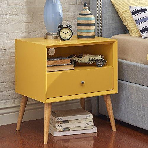 Mid Century Yellow Wood Accent Nightstand End Side Table With Tapered Light Wood Legs, 1 Drawer and Shelf