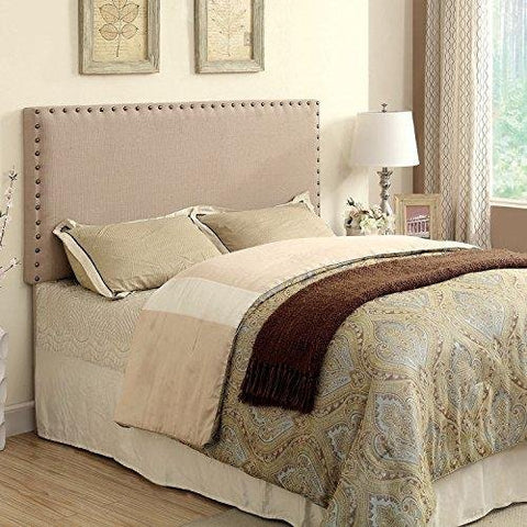 Modern Upholstered Padded Beige Linen Fabric Queen Headboard with Antique Brass Nailheads