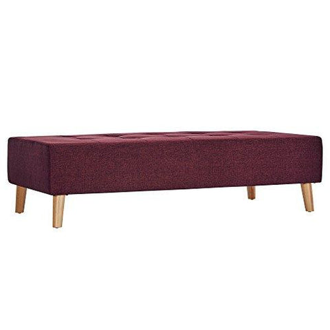 Mid Century Modern Wood Linen Fabric Upholstered Bench with Padded Cushions (Red)