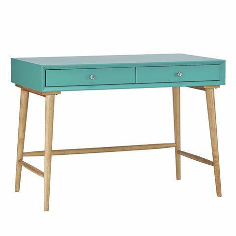 Mid Century Modern Wood Writing Desk with 2 Drawers (Teal Green)