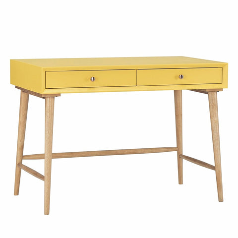 Mid Century Modern Wood Writing Desk with 2 Drawers (Yellow)