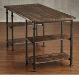 Industrial Modern Rustic Metal Oak Computer Writing Storage Desk with 4 Open Shelves (Brown)