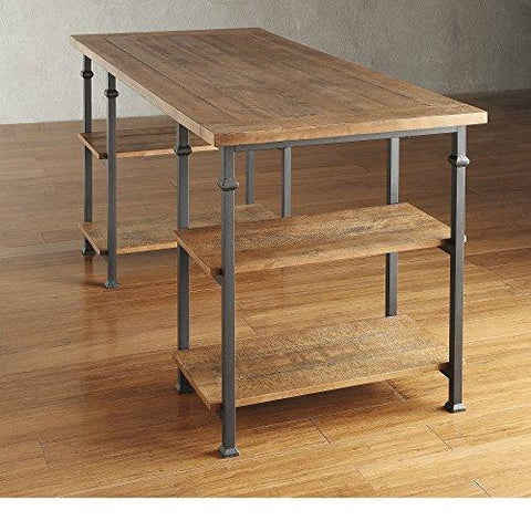 Industrial Modern Rustic Metal Oak Computer Writing Storage Desk with 4 Open Shelves (Light Brown)