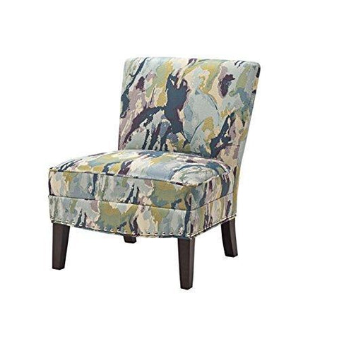 Contemporary Purple Green Blue Abstract Print Upholstered Armless Accent Chair with Nailhead Trim and Dark Wood Legs