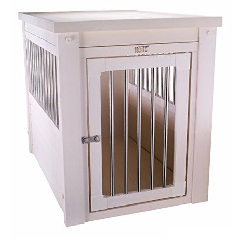 Contemporary End Table Pet Crate and Kennel with Stainless Steel Spindles (Medium, White)
