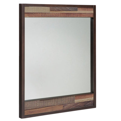 Modern Wood Mosaic 32.5 x 40 in. Wall Mirror