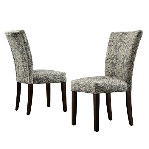 ModHaus Modern Blue Damask Pattern Fabric Parsons Style Dining Side Chairs | Wood Finish Wooden Legs - Set of 2