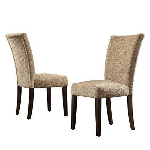 Modern Tan Chenille Parsons Style Dining Chairs | Wood Finish Wooden Legs - Set of 2