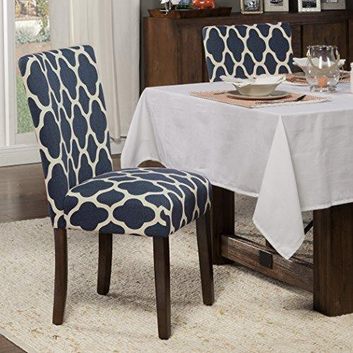 Modern Wood Woven Fabric Upholstered Accent Parsons Dining Chairs (Set of 2) with Solid Wood Frame and Legs