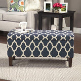 Modern Wood Fabric Upholstered Storage Ottoman in Blue with Solid Wood Legs