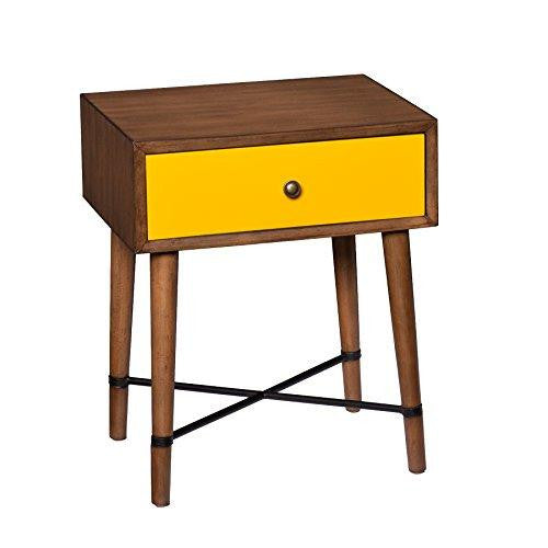 Mid Century Modern Accent Yellow End Side Table with 1 Storage Drawer