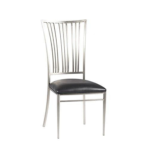 Set of 2 Modern Metal Faux Black Leather Upholstered Dining Side Chair with Brushed Nickel Back and Legs