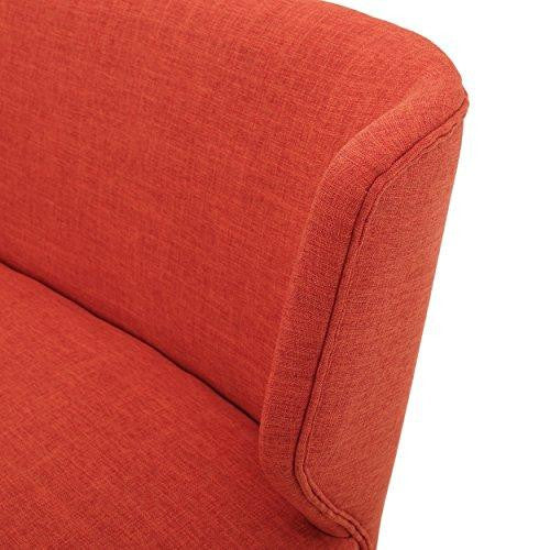 Mid Century Modern Orange Upholstered Loveseat Sofa with Curved Back and Wood Legs
