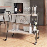 Industrial Rustic Dark Bronze Metal Mobile Rolling Bar Cart with Wood Shelves and Hanging Racks