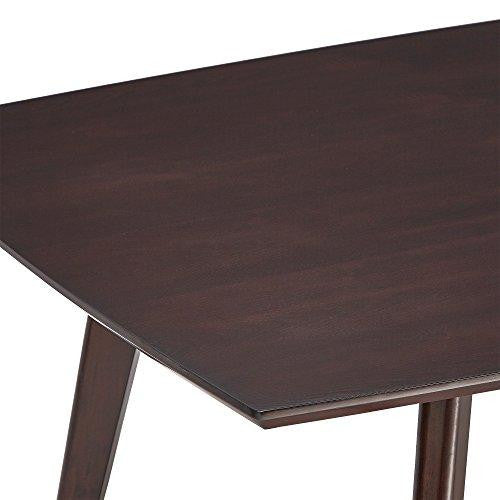 Mid Century Modern Dark Brown Wood 71 Inch Dining Table with Tapered Legs