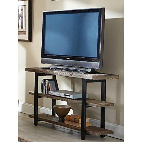 Modern Rustic Media Cabinet Console Table with 3 Solid Wood Shelves and Metal Legs