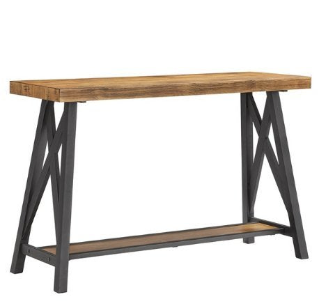 Modern Industrial Rustic Wood Console Entryway Sofa Table with Lower Shelf and Metal X Base