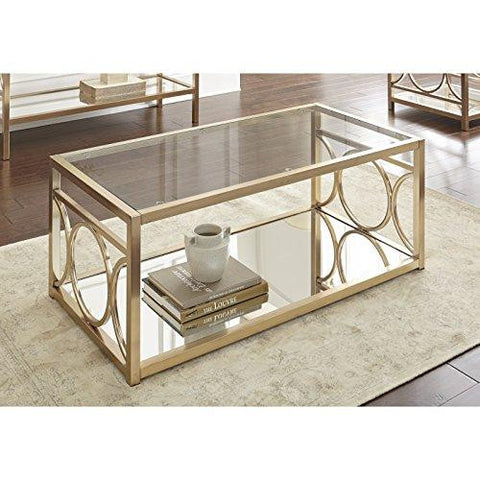 Contemporary Glass Top Accent Cocktail Coffee Table With Gold Chrome Geometric Base Mirrored Shelf