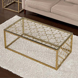 Contemporary Tempered Glass Top Cocktail Coffee Metal Table in Gold Tone Brushed Finish