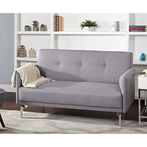 Mid Century Modern Button Tufted Gray Fabric Upholstered Loveseat with Armrest and Chromed Metal Legs
