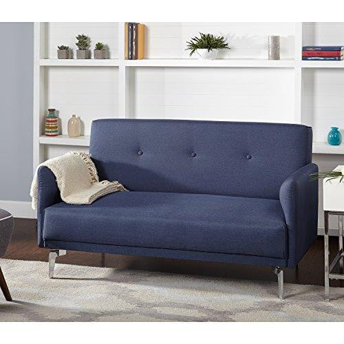 Mid Century Modern Button Tufted Navy Blue Fabric Upholstered Loveseat with Armrest and Chromed Metal Legs