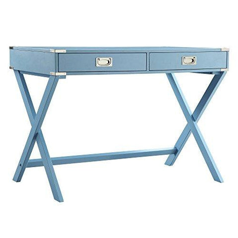 Modern Wood Accent X Base Light Blue Student Computer Writing Office Desk with 2 Drawers