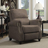 Contemporary Modern Brown Linen Upholstery Push Back Recliner Chair with Nailhead & Solid Wood Legs