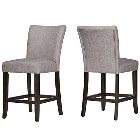 Modern Classic Style Wooden Legs Counter Height Armless Bar Chairs | Espresso Finish, Linen Cushioned Seats, Living Room Decor (Set of 2) (Gray)