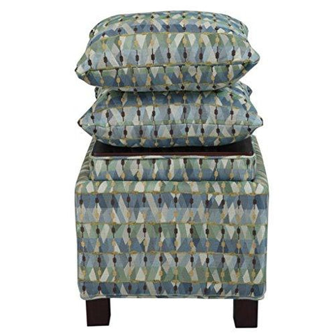 Admirable Modern Square Green Abstract Print Upholstered Storage Ottoman With 2 Accent Pillows And Wood Legs In Espresso Finish Alphanode Cool Chair Designs And Ideas Alphanodeonline