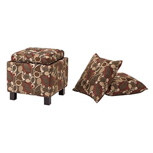 Modern Square Brown Print Upholstered Storage Ottoman with 2 Accent Pillows and Wood Legs in Espresso Finish