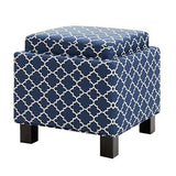 Modern Square Navy Blue Upholstered Storage Ottoman with 2 Accent Pillows and Wood Legs in Espresso Finish