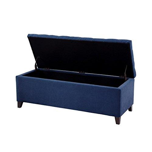 Modern Navy Blue Fabric Upholstery Button Tufted Storage Bench with Black Wood Legs
