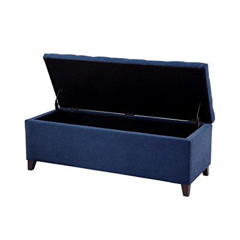 Superb Modern Navy Blue Fabric Upholstery Button Tufted Storage Bench With Black Wood Legs Pdpeps Interior Chair Design Pdpepsorg