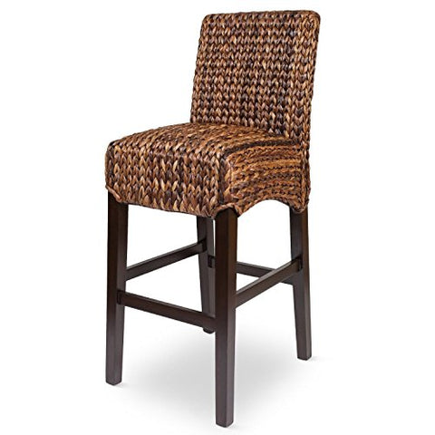 Bird Rock Seagrass Barstool (Bar Height) | Hand Woven | Mahogany Wood Frame