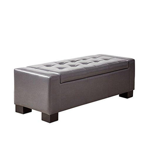 Modern Retro Gray Faux Leather Upholstered Tufted Top Storage Bench Ottoman with Wood Legs