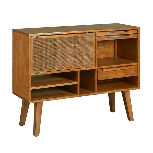 Mid Century Modern Buffet Wine Cabinet with 2 Removable Serving Trays, Drawer and Flip Down Door