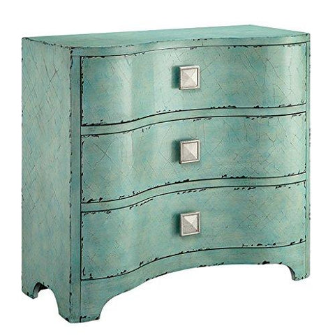Modern Distressed Curved Front Crackled Blue Accent 3 Drawer Chest Dresser