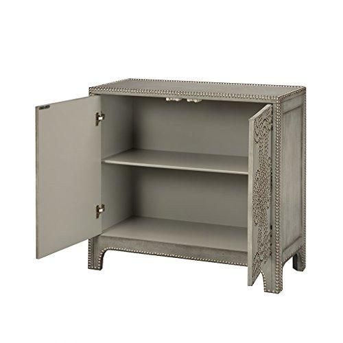 Modern Gray Wood Nailhead Accent Chest with 2 Doors, Adjustable Shelf and Solid Wood Legs