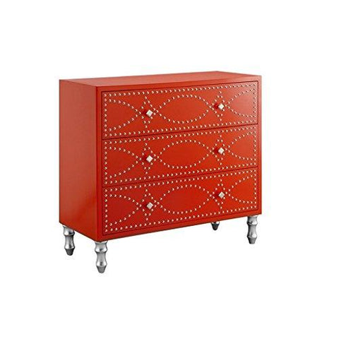 Mid Century Modern Wood Tangerine 3 Drawer Chest with Nailhead Accent and Silver Legs