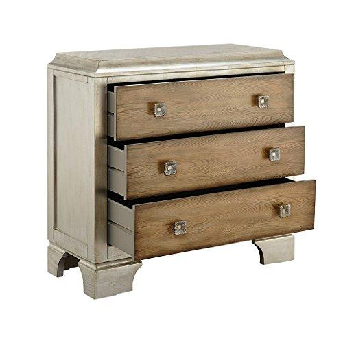 Mid Century Modern Wood Accent 3 Drawer Chest with Silver Metallic Exterior and Brown Drawers