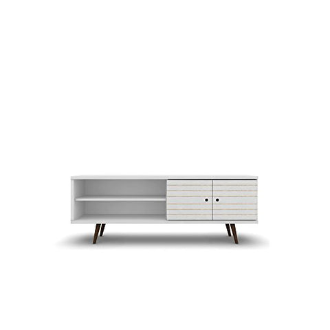 Mid Century Modern 62.99 Inch TV Stand Storage with 3 Shelves 2 Doors and Solid Wood Legs  (White)