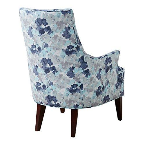 Contemporary Blue Floral Print Upholstered Accent Swoop Armchair with Dark Wood Legs