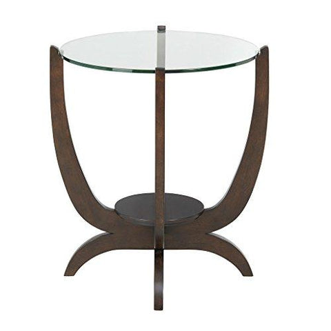 Contemporary Round Glass Top Accent End Side Table with rich brown base