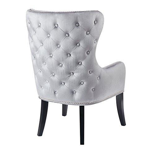 Contemporary Beige Ivory Upholstered Deep Button Tufted Accent Armchair with Dark Wood Legs