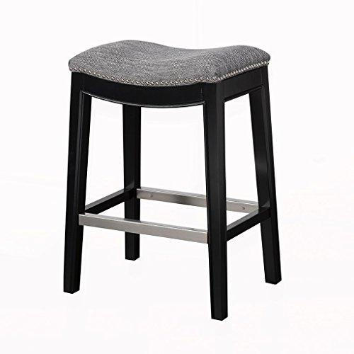 Mid Century Modern Upholstered Backless Saddle Counter Stool with Nailheads Accent and Solid Wood Legs (Gray)