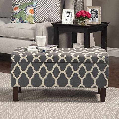 Modern Geometric Print Grey Upholstery Entryway Storage Ottoman with Solid Wood Legs