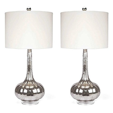 Modern Vintage Ivory Shade Set of 2 Table Lamp with Mercury Glass Bases