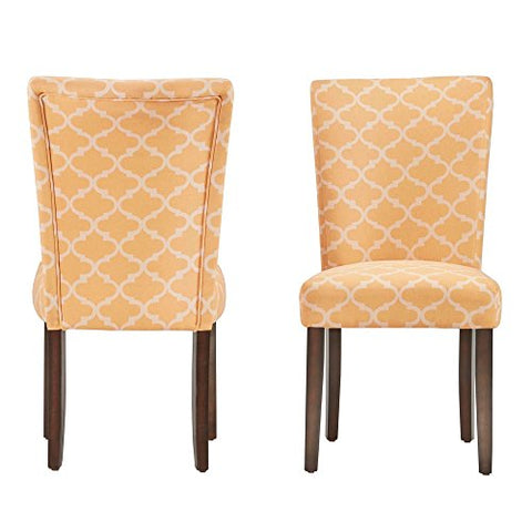 Modern Orange/Yellow Fabric Moroccan Quatrefoil Pattern Parsons Style Dining Chairs | Wood Finish Wooden Legs - Set of 2